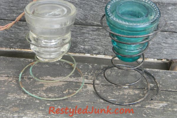 Glass Insulator/Bed Spring Candle Holder