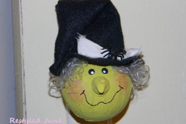 Witch Ornament Made From a Glass Christmas Ball